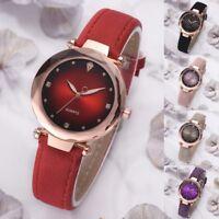 Fashion Women Crystal Analog Dial Watch PU Leather Band Casual Quartz Wristwatch