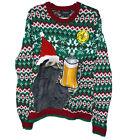 NEW Ugly Xmas Christmas Sloth Supreme Knit Beer Holder Sweater Sweatshirt -MED