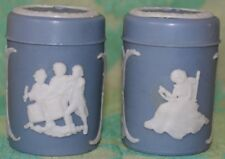 Colonial Salt and Pepper Shakers Wedgewood Look Made in Hong Kong white on blue