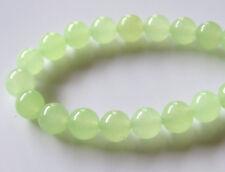 50pcs 6mm Round Gemstone Beads - Malaysian Jade - Light Peridot Green