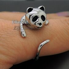 One Size fit all Ladies Cute Panda 316L Stainless Steel Ring