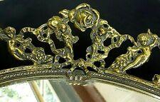 Vintage Mirrored VANITY TRAY gold  filigree Roses Cherubs ormolu