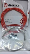 Clarks Cable Brake Kit F+R Stainless Sport Road/Mountain RED NEW FREE UK POSTAGE