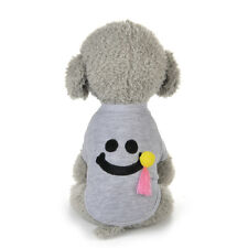 Gray Warm Cat Dog Pet Pullover Clothes Smile Costume Coat Apparel Pajamas XL^