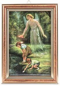 Schutzengel Bild Geschwister am Ufer 17 cm Engel Wandbild mit Holzrahmen