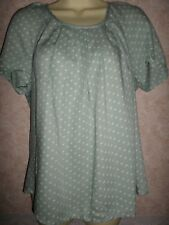 NEXT PEPPERMINT GREEN VISCOSE SPOTTED BLOUSE WITH TIES AT THE BACK NECK SIZE 14