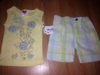 Girls Size 18 Months Little Lass 2 Piece Summer Outfit Shirt Top Shorts Yellow