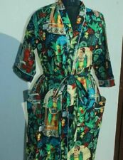 Indian Night Wear Women Long Kimono Frida Khalo Print Dress Bathrobe Maxi Gown