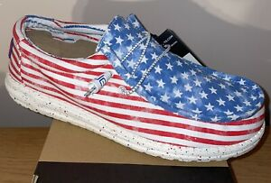 HEY DUDE WALLY STARS N STRIPES MENS SHOES SIZE 12 - SHIPS TODAY