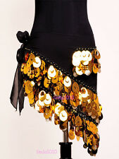 New Belly Dance Costume Hip Scarf Belt Sequins&Golden Coins 5 Colors