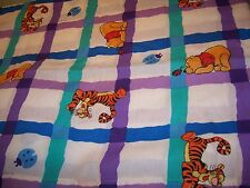Vintage DISNEY Winnie the Pooh Tigger Ladybugs Twin Flat Sheet Fabric EUC