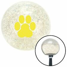 Yellow Pawprint Clear Metal Flake Shift Knob with M16 x 1.5 Insert backup(Fits: Hornet)