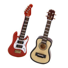 2pcs 1:12 Dollhouse Music Instrument Wooden Electric Classical Guitar