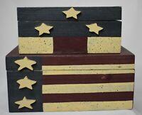 Nesting Americana Wooden Trinket Boxes Set of 2 distressed 1998 Artmark