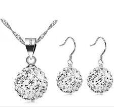 Creolen Ohrringe 925 Sterling Silber Shamballa Ohrhänger festlich Halskette 32