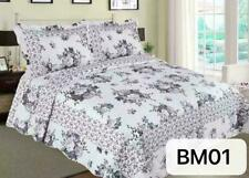 Quilted Cotton 3 Piece Comforter Bed Throw Set Double Kingsize Bedspread