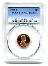 PCGS PF69 RD DEEP CAMEO 1998 S LINCOLN PROOF DCAM GEM BU 1C CENT PENNY COIN#3278