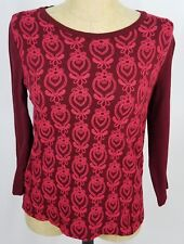 J.Crew Burgundy Red Pink Embroidered Top Size Large 3/4 Sleeve Geometric