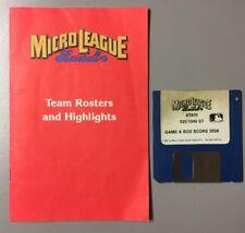 "Micro League Baseball Computer Game 1987 Atari 520 ST 1040 ST 3.5"" Disk + Manual"