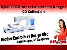 8,500 PES Brother Embroidery Designs CD Collection