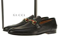 NEW GUCCI MEN'S BLACK LEATHER WEB DETAIL HORSEBIT LOAFERS SLIP ON SHOES 6/6.5