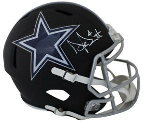 Dak Prescott Autographed Dallas Cowboys Black Matte Replica Helmet JSA 24087