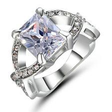 Size 6 Princess Cut White Sapphire Gem Engagement Ring White Gold Rhodium Plated