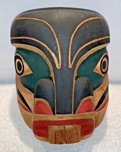 A Henry Hunt Kwakiutl Northwest Coast Carved Wood Pugwus Beaver? Mask Signed