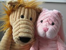 "Jellycat 16""/inch Corduroy Plush Lion with15""  Corduroy Plush Pink Bunny"