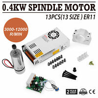 CNC 0.4KW Spindle Motor ER11 & Mach3 PWM Controller &Mount Brushless Kit milling