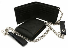 Bifold Black Genuine Leather Wallet with Scale Texture Design with a Chain