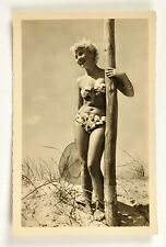 Vintage postcard girl in a swimsuit pin-up Germany on the beach 1958