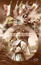 Carte postale fantaisie en couleur,  Alsacienne et drapeaux alliés - WWI -