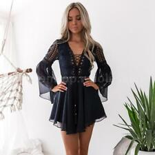 Women's Sexy V-Neck Long Sleeve Ruffle Bandage Hollow Out Lace Party Dress W1M2