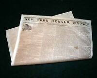 Rare 1842 STEAMSHIP Columbia New York Herald Extra BROADSIDE Old Newspaper