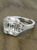 CertifIed 2CT Emerald-Cut Diamond Solitaire Engagement Ring 14K White Gold
