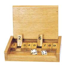 SHUT THE BOX - Klappenspiel Würfelspiel Thekenspiel Reisespiel mit Deckel Würfel