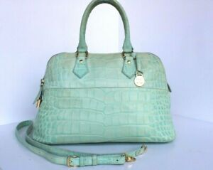 NICE DOONEY & BOURKE Lime Green ALTO MOC CROC DOMED SATCEHL PURSE ITALY
