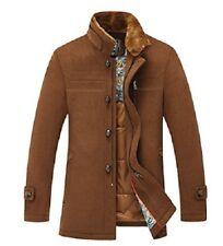 Sulandy Mens Brown Winter Warm Soft Wool Blend Pea Coats Slim Fit -XL