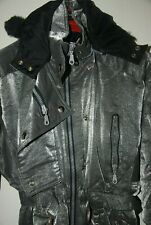 Rodeo SKI Vintage SUIT OVERALL JACKET Hood ONE PIECE SHINY Grey Silver 10 M 42 L