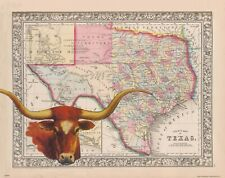 Texas Longhorns Football Art Print Vintage State Map Cattle Rancher Office Decor