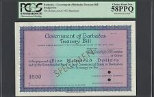 Barbados, Government Treasury Bill,500$ Act of 1922 Specimen About Uncirculated
