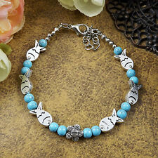 Hot Free shipping New Tibet silver multicolor jade turquoise bead bracelet S63B