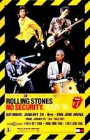ROLLING STONES 1999 NO SECURITY TOUR OFFICIAL SAN JOSE ARENA CONCERT POSTER