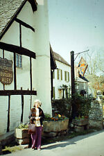 Vintage Slide Negative : A Old Lady With Glasses Standing Outside A Pub