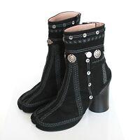 MAISON MARTIN MARGIELA split toe gypsy coin embroidered black tabi boots 40 NEW