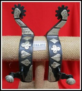 Used Hand Made CARD SUIT Silver Mounted Big Rowel Cowboy Riding Spurs