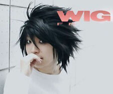 Death Note L Black Short Stylish Anime Cosplay Wig + Gift wigs cap