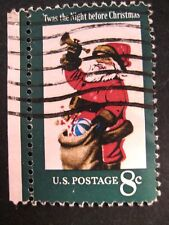 'Twas The Night Before Cristmas Santa 1972 US 8c Used Postage Stamps Off-Paper