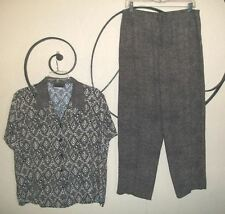 INTRIGUING THREADS Black Tan Geo Dotted Casual Capris 2-pc Outfit Wm's 16 NICE!